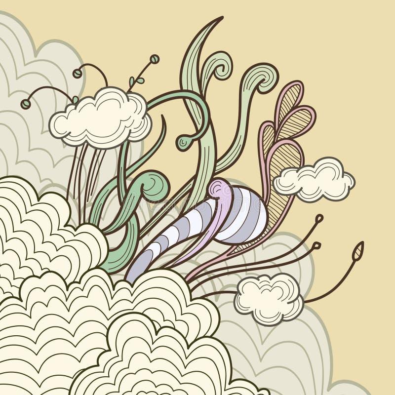 Nubi astratte con gli elementi di disegno floreale royalty illustrazione gratis