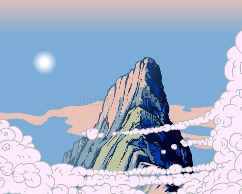 Nubi in cielo sopra il picco di montagna illustrazione di stock