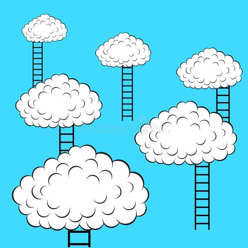 Nubi con le scale illustrazione vettoriale