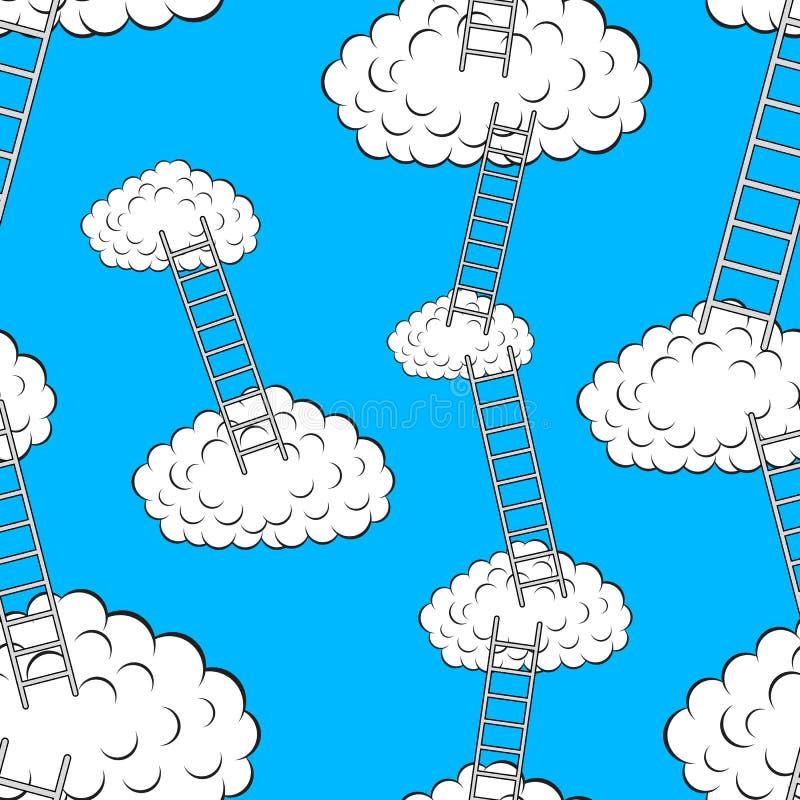 Nubi con le scale, carta da parati senza giunte illustrazione di stock