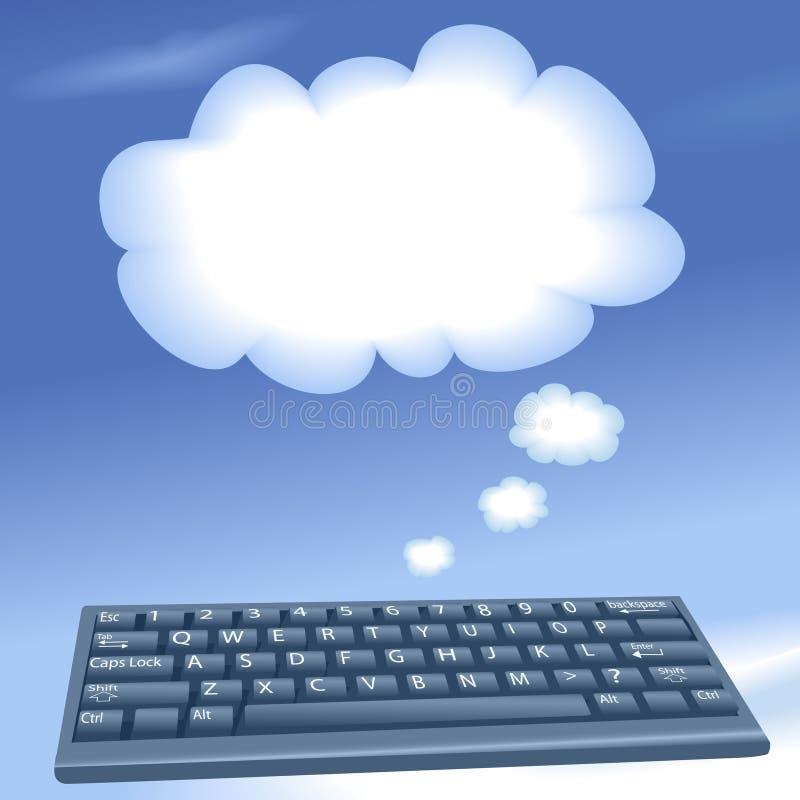 Nubi di calcolo di colloquio della tastiera di calcolatore della nube illustrazione vettoriale