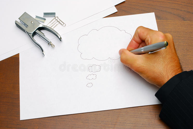Nubi di pensiero su documento fotografie stock