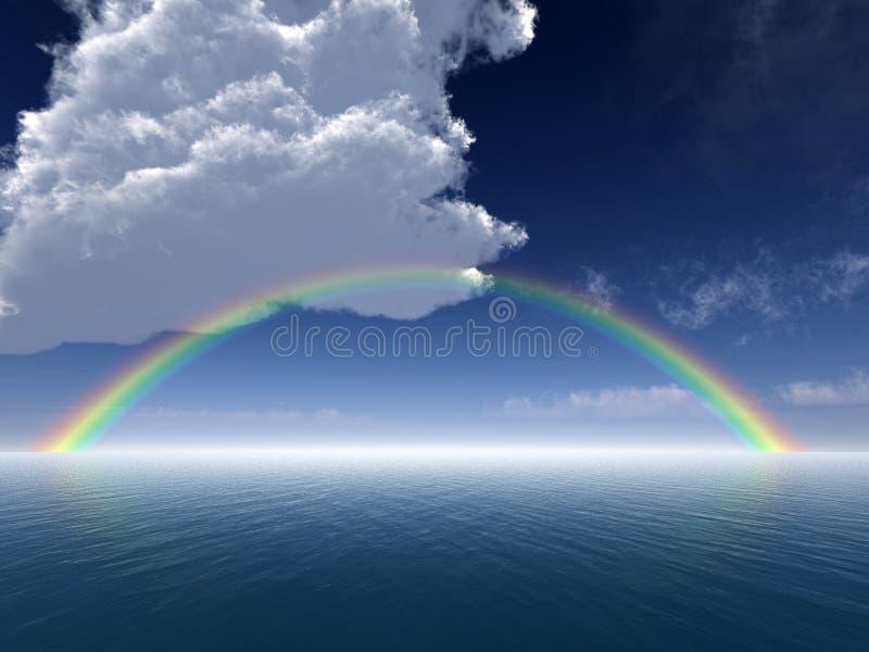 Nubi e Rainbow sopra il mare illustrazione di stock