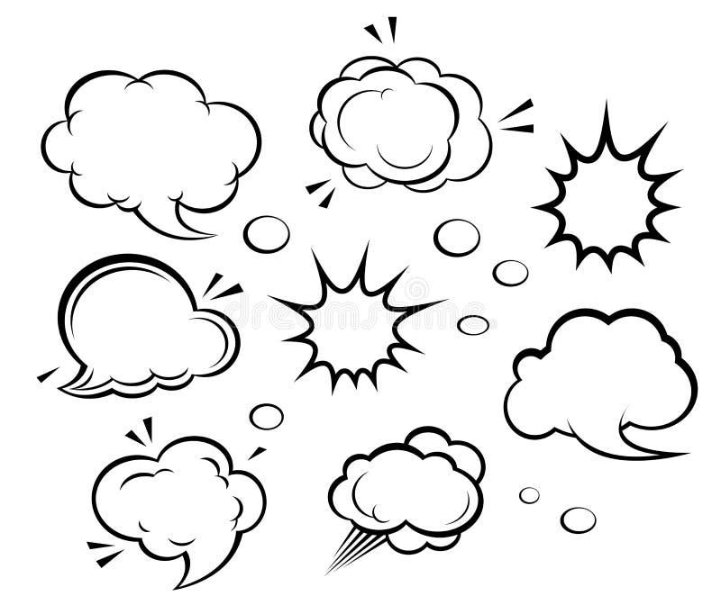 Nubi ed esplosioni del fumetto illustrazione vettoriale