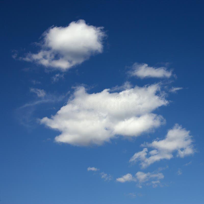 Nubi lanuginose in cielo blu. immagini stock
