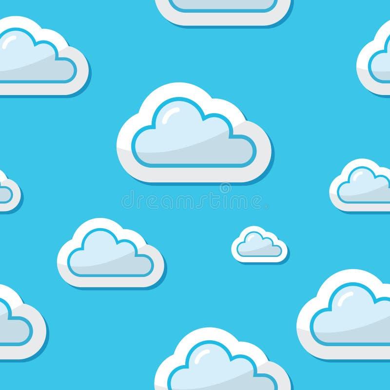 Nubi senza giunte sulla priorità bassa del cielo blu, reticolo illustrazione di stock