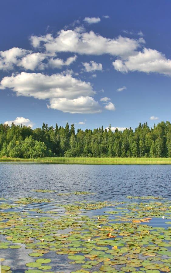 Nubi sotto il lago fotografia stock