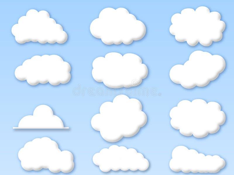 Nubi su cielo blu nuvoloso illustrazione di stock