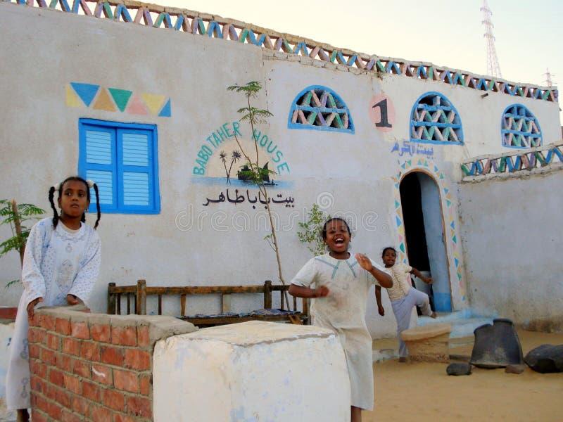 Nubian村庄在阿斯旺,埃及 库存图片