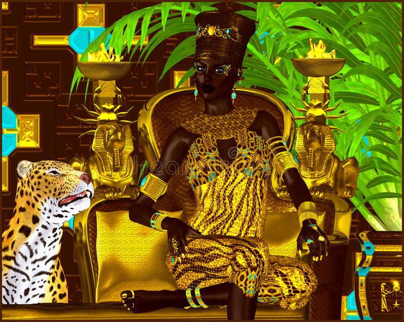 Nubian Princess. Seated on a gold chair with a leopard at her feet she exudes wealth, power and beauty. A fantasy digital art. Scene royalty free illustration