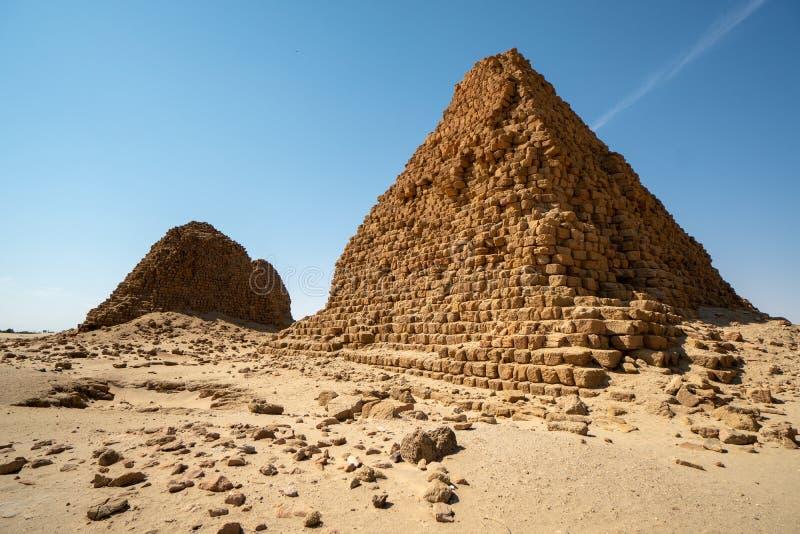 Nubijscy ostrosłupy w Sudan, Nuri - obraz royalty free