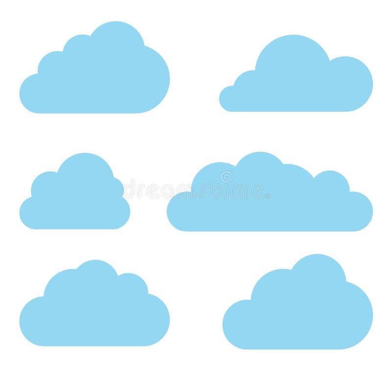 Coleção do vetor das nuvens. Bloco de computação da nuvem. ilustração do vetor
