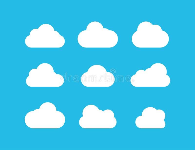 Nubla-se a cole??o Ícones brancos do vetor das nuvens no fundo azul Nuvem branca no projeto liso ilustração do vetor