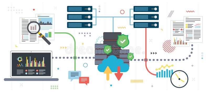 Nuble-se a análise de dados e a mineração de dados computando, grandes ilustração stock