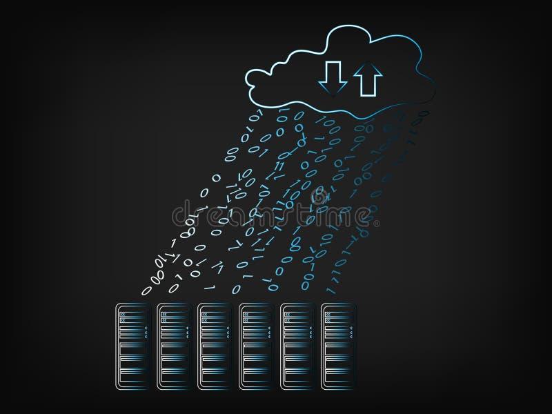 Nuble-se com chuva dos dados em servidores do armazenamento ilustração do vetor