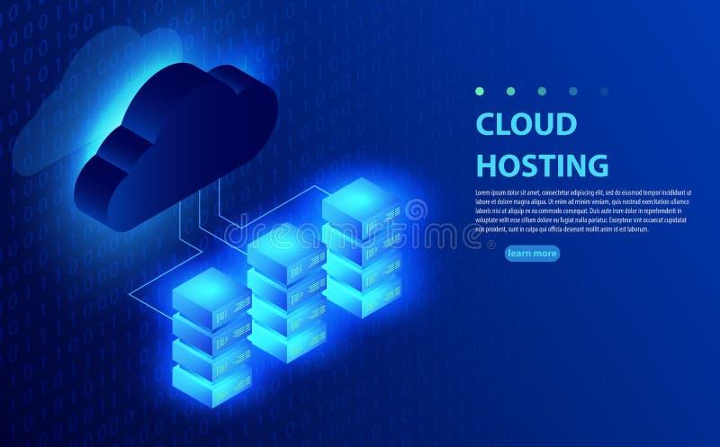 Nuble-se a computação, armazenamento, hospedando, serviços, gestão de rede, conceito do vetor da sincronização dos dados ilustração stock