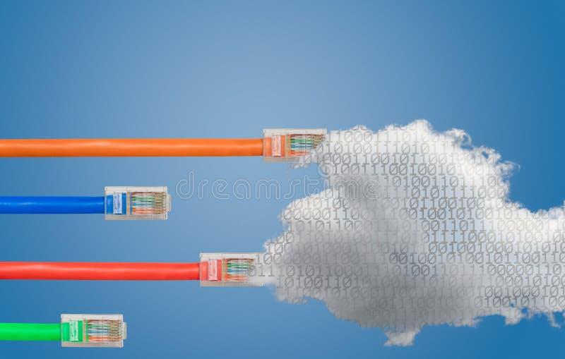 Nuble-se a computação e os cabos ethernet na imagem líquida da neutralidade imagem de stock royalty free