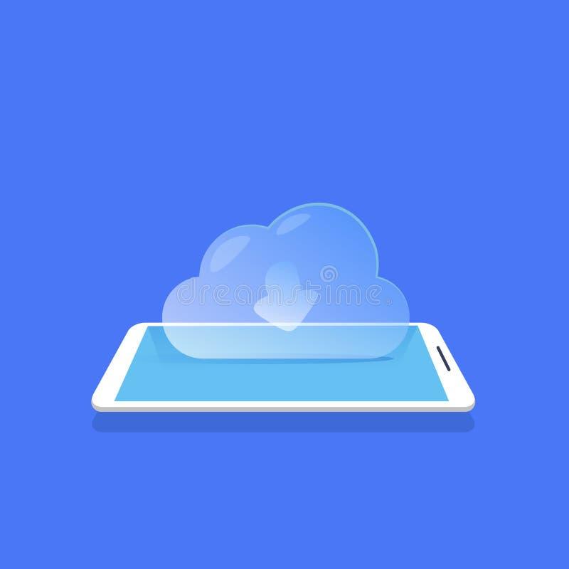 Nuble-se da aplicação móvel do armazenamento de dados do ícone da sincronização o fundo azul horizontalmente ilustração royalty free