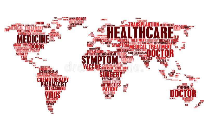 Nuble-se etiquetas de palavras médicas da saúde no mapa do mundo ilustração royalty free