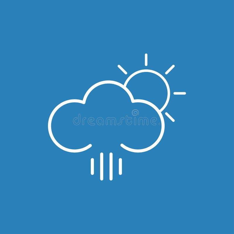 Nuble-se a linha do ícone do tempo do sol da chuva no fundo azul imagens de stock royalty free