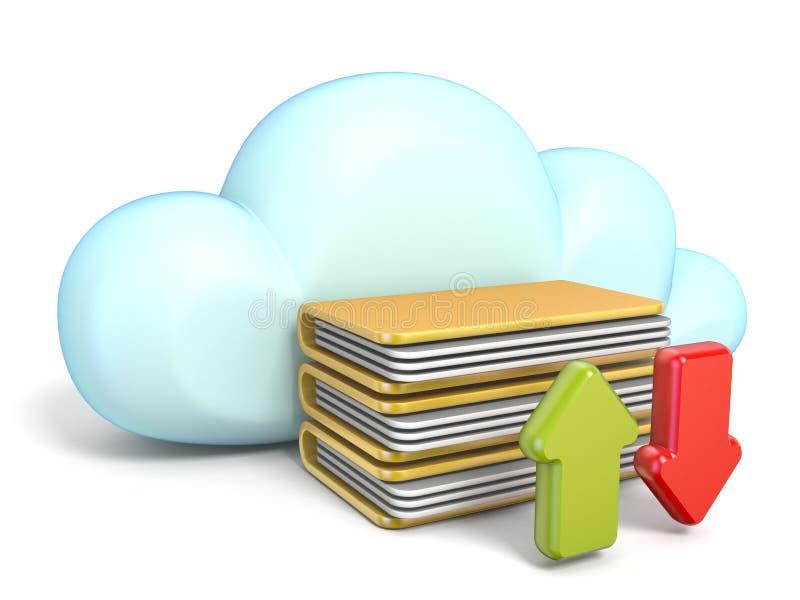 Nuble-se o ícone com as setas 3D da transferência e da transferência de arquivo pela rede ilustração stock