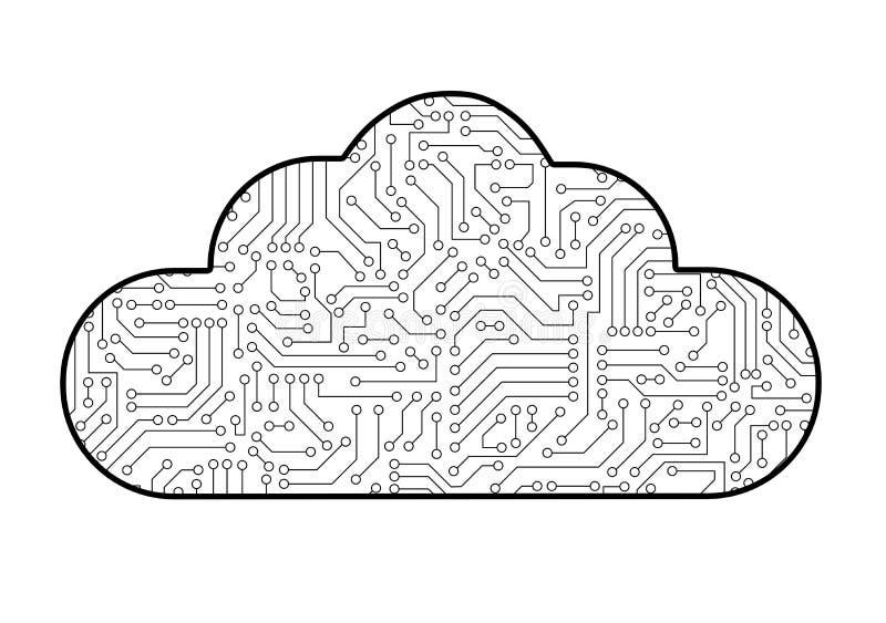 Nuble-se o ícone de computação da informática com patt da placa de circuito ilustração do vetor
