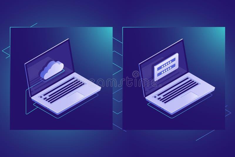 Nuble-se o ícone isométrico da tecnologia do armazenamento de dados, segurança das informações pessoais, laptop, néon da obscurid ilustração stock