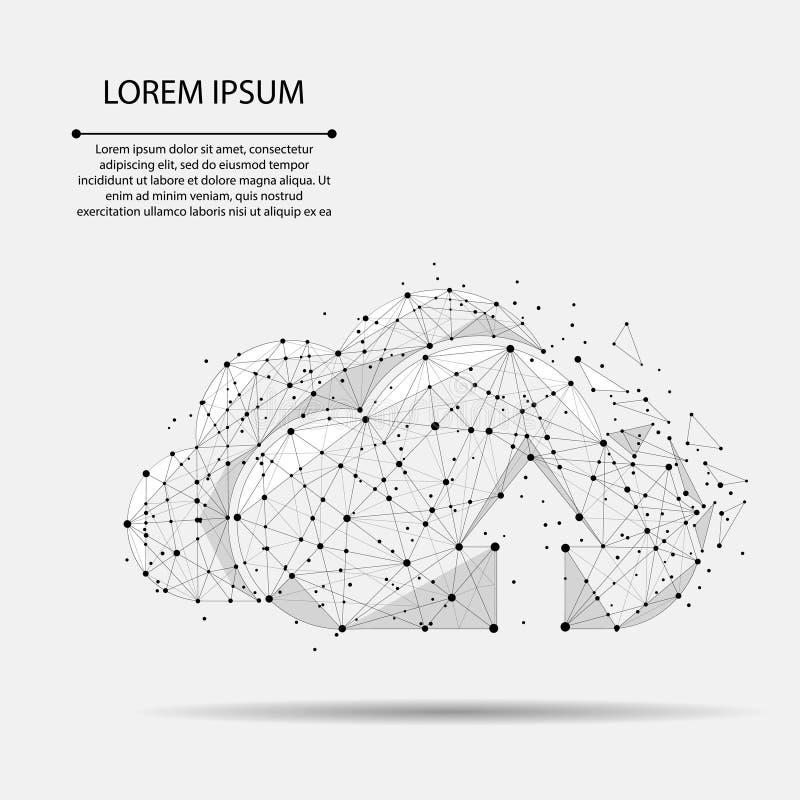 Nuble-se o baixo armazenamento poli em linha de computação que consiste em pontos, linhas Informação de dados global ilustração royalty free