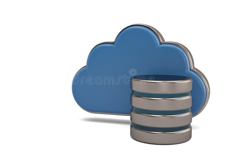 Nuble-se o clou lustroso azul do conceito do armazenamento de dados da computação e remotos ilustração royalty free