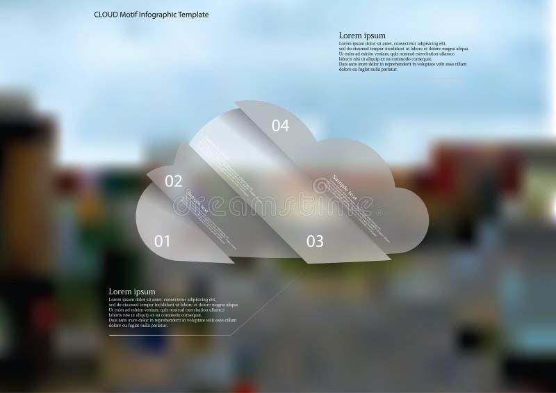 Nuble-se o molde infographic com o oblíquo do objeto dividido a quatro porções ilustração stock
