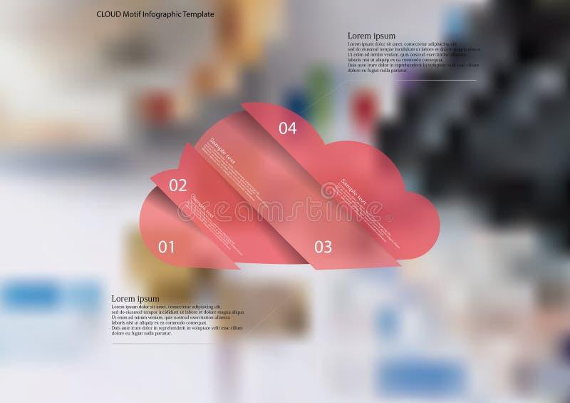 Nuble-se o molde infographic com o oblíquo do objeto dividido a quatro porções ilustração royalty free