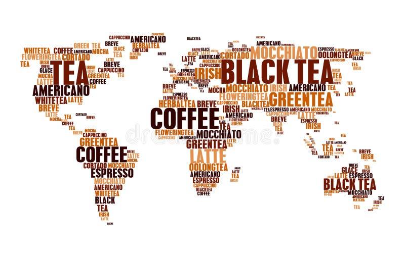 Nuble-se palavras quentes do mapa do mundo das bebidas do café do chá das etiquetas ilustração do vetor