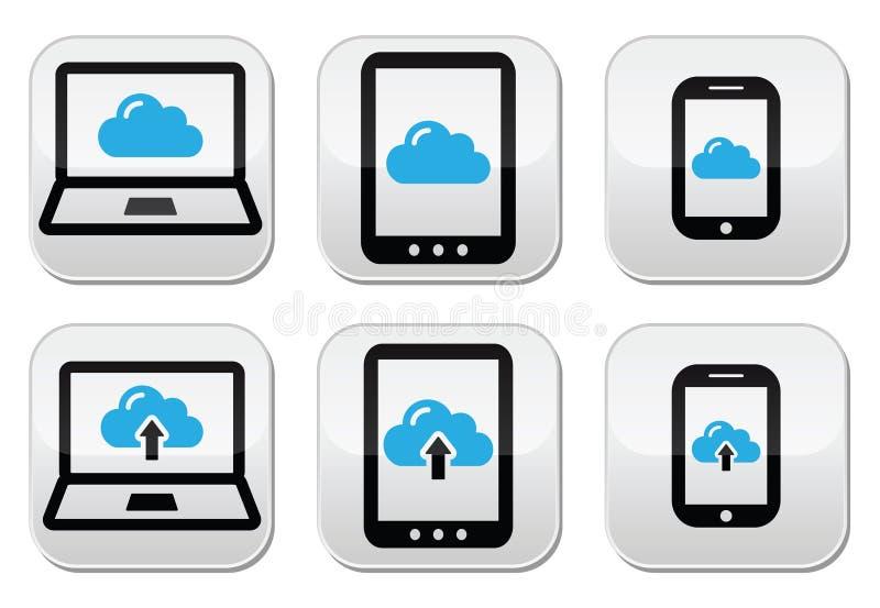 Nuble-se a rede no portátil, tabuleta, ícones do smartphone ilustração do vetor