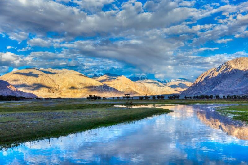 Nubra谷的Nubra河在喜马拉雅山 图库摄影