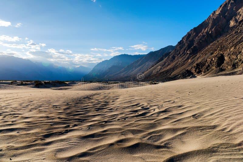 Nubra谷,莱赫,拉达克,查谟-克什米尔邦,印度北部沙漠  免版税库存图片