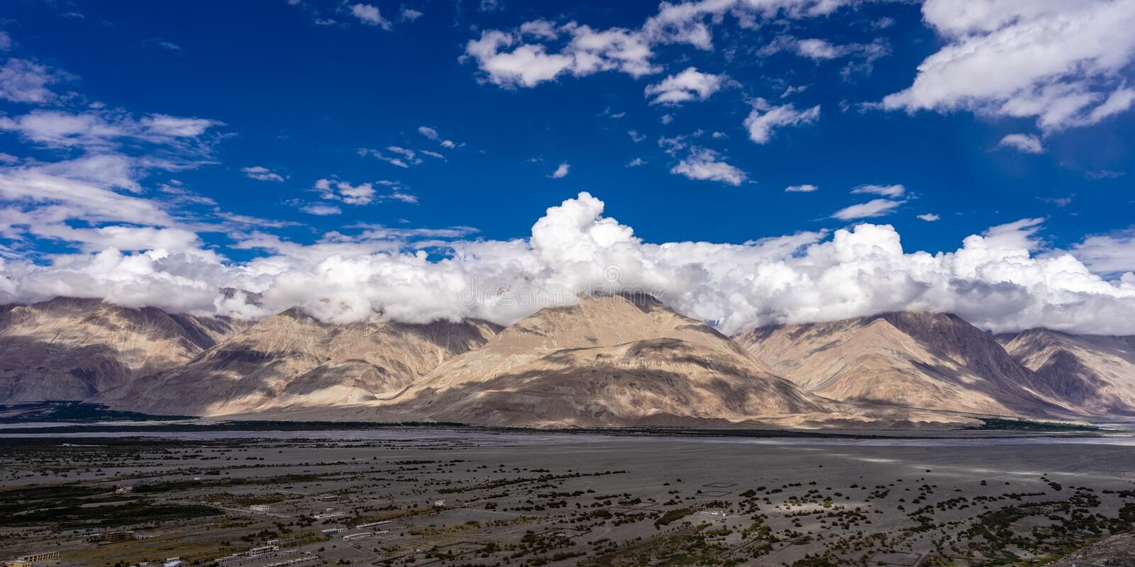 Nubra Valley and Shyok river view from Diskit Gompa royalty free stock photo