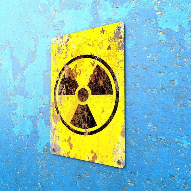 Nucleaire locatie, teken het hangen op een blauwe muur Aanwijzing van de aanwezigheid van een radioactief gebied stock illustratie