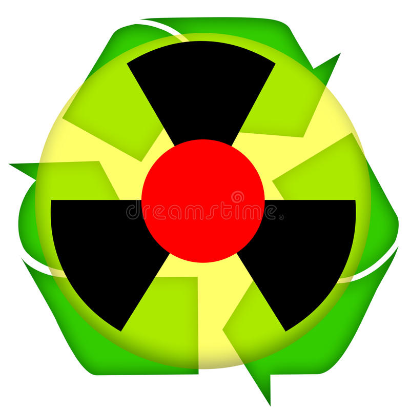 Nuclear accident. Waste recycling icon isolated over white background vector illustration