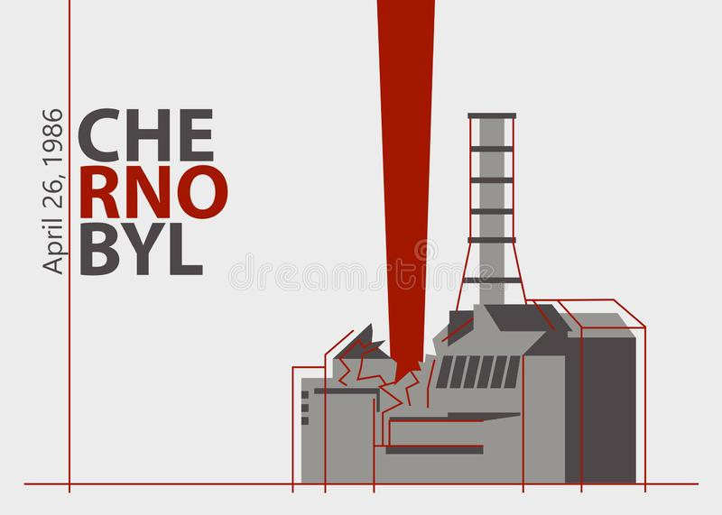 Nuclear accident at the Chernobyl plant near Pripyat, Ukraine, in the Soviet Union, on April 26, 1986. An explosion of the nuclear reactor. Vector illustration vector illustration