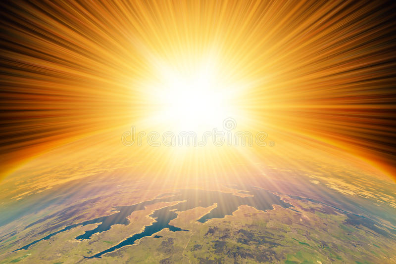 Nuclear Blast on Earth. Nuclear Missile Blast impact on planet Earth. Third world war, end of the world, aerial view stock photography