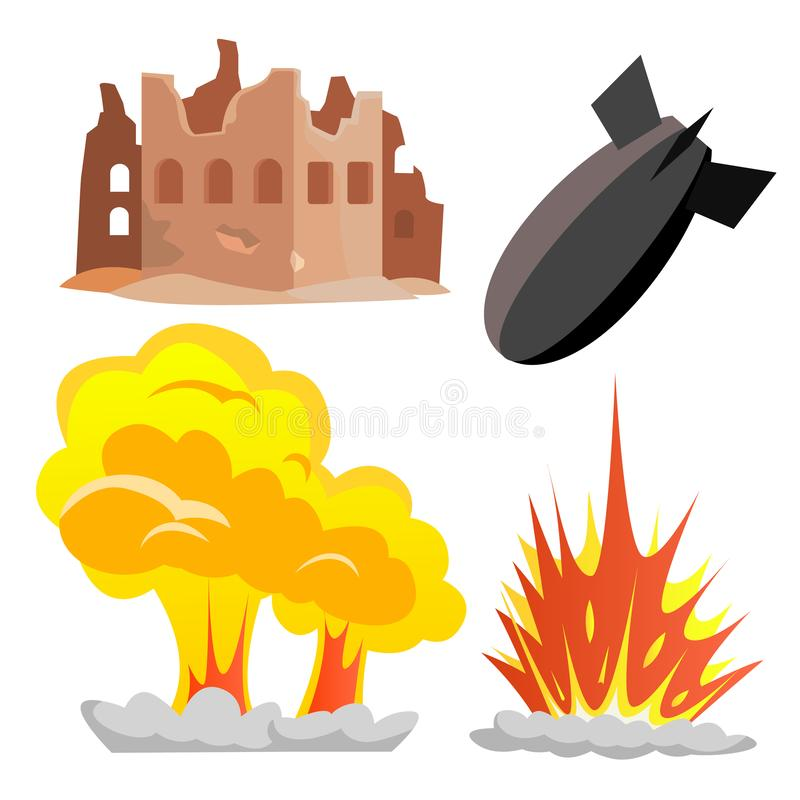 Nuclear Bomb Blast Vector. Icon. Military War Conflict. Isolated Flat Cartoon Illustration royalty free illustration