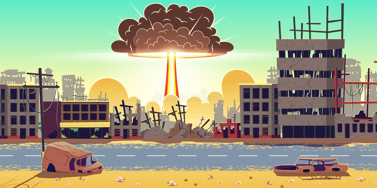 Nuclear bomb explosion in ruined city vector vector illustration