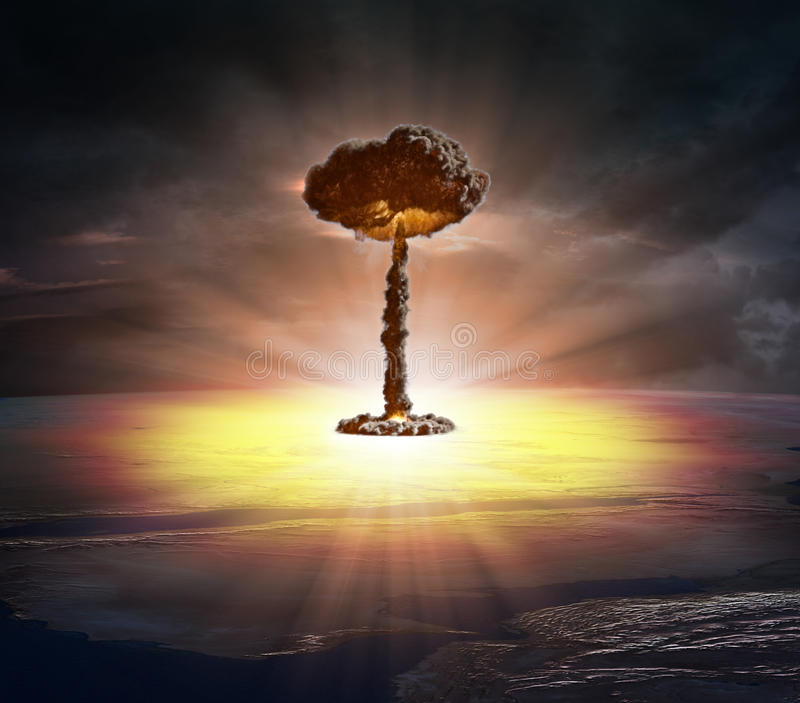 Nuclear bomb. Mushroom shaped cloud royalty free stock images
