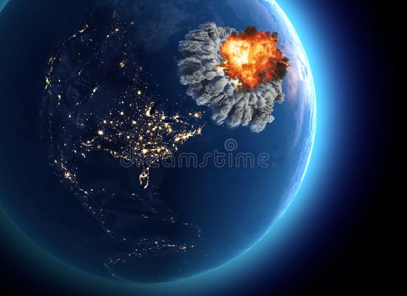 Nuclear bomb. War between nations, explosion, cataclysm. Extinction. Enemy attack stock illustration