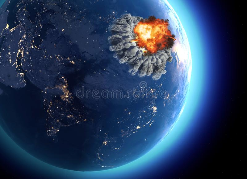 Nuclear bomb. War between nations, explosion, cataclysm. Extinction. Enemy attack royalty free illustration