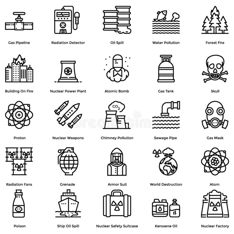 Nuclear Elements Line Icons Pack stock illustration