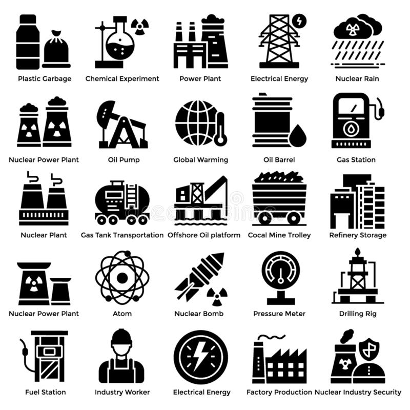 Nuclear Elements Solid Icons Set royalty free stock photography