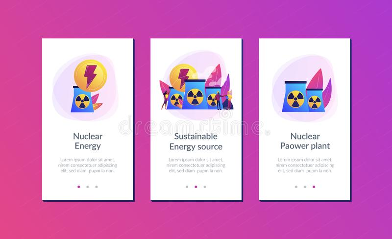 Nuclear energy app interface template. Engineers working at nuclear power plant reactors releasing energy. Nuclear energy, nuclear power plant, sustainable vector illustration