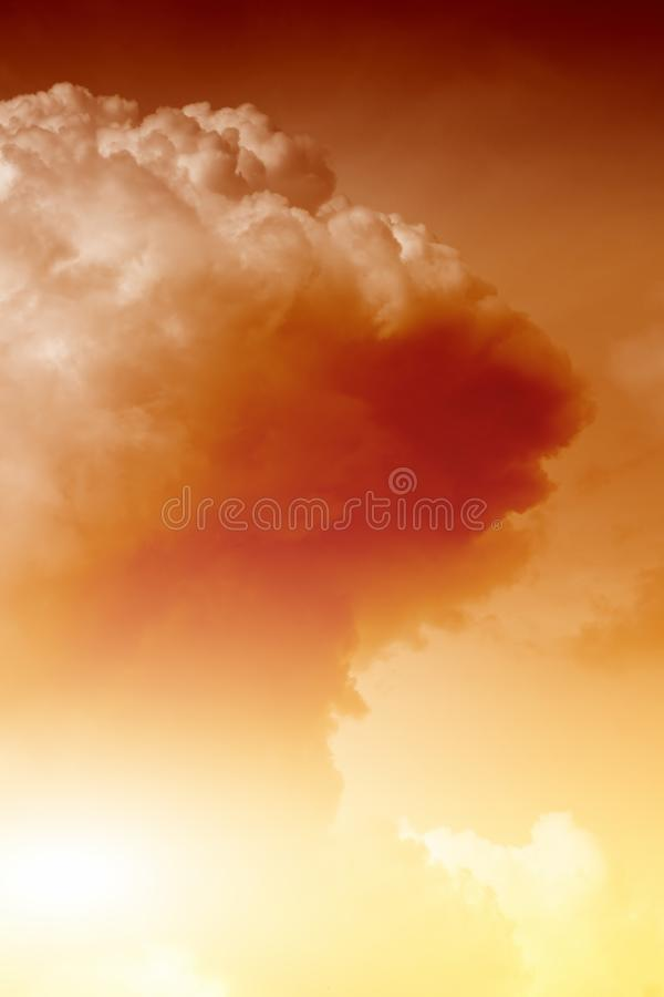 Nuclear explosion. Mushroom cloud fireball from nuclear bomb explosion stock image