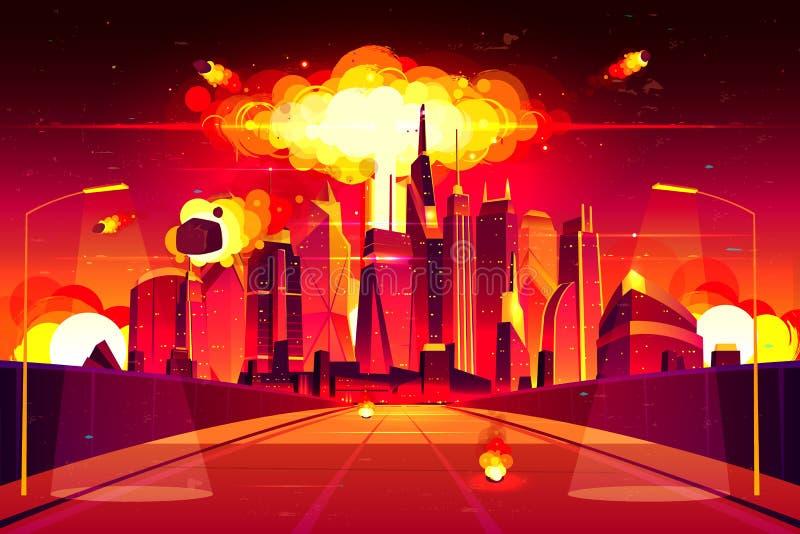 Nuclear explosion city metropolis mushroom cloud. Nuclear explosion in city metropolis. Fiery mushroom cloud of atomic bomb detonation raising under skyscrapers royalty free illustration